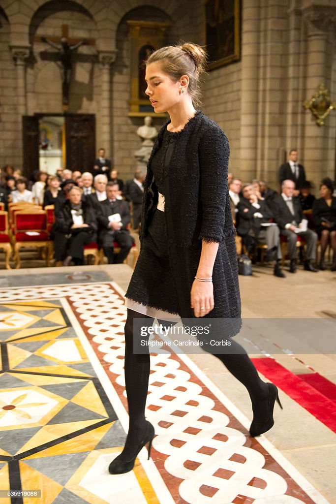Charlotte Casiraghi attends the annual traditional Thanksgiving Mass as part of Monaco National Day celebrations on November 19, 2010 in Monaco