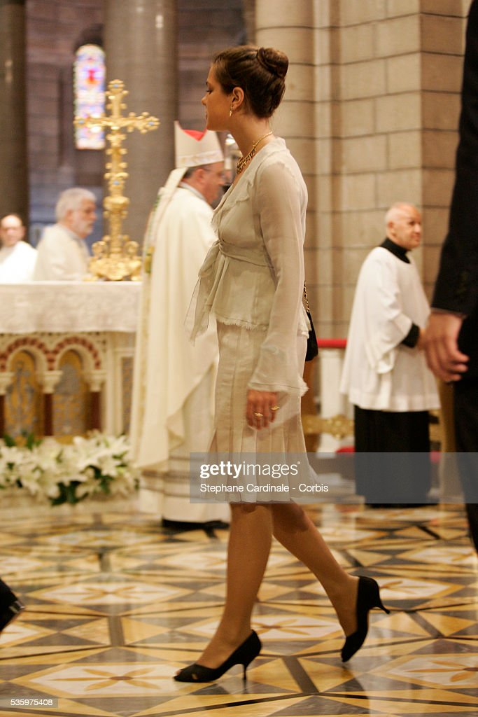 Charlotte Casiraghi attends the enthronement mass in Monaco Cathedral. Prince Albert II, 47, took over as ruler of the principality following the death of his father, Prince Rainier in April.