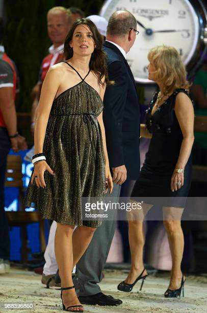 Charlotte Casiraghi attends the Global Champions Tour of Monaco at Port d'Hercule on June 30 2018 in MonteCarlo Monaco