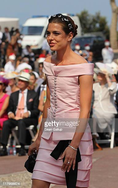 Charlotte Casiraghi attends the religious ceremony of the Royal Wedding of Prince Albert II of Monaco to Princess Charlene of Monaco in the main...