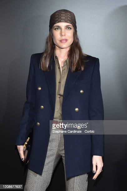 Charlotte Casiraghi attends the Saint Laurent show as part of the Paris Fashion Week Womenswear Fall/Winter 2020/2021 on February 25 2020 in Paris...