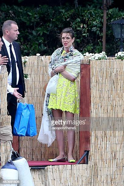 Charlotte Casiraghi attends the wedding ceremony of Pierre Casiraghi and Beatrice Borromeo on August 1 2015 in Verbania Italy