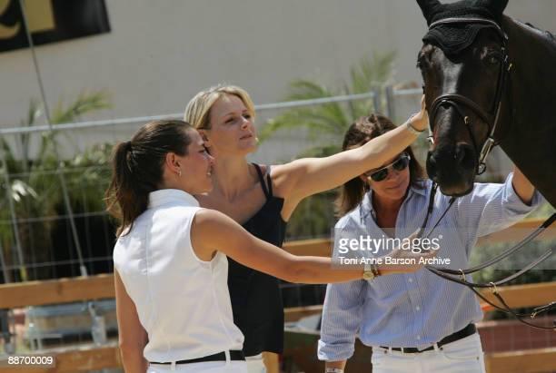 Charlotte Casiraghi Charlene Wittstock and HSH Princess Caroline of Hanover attend the International Jumping Show of Monte Carlo at Port Hercule on...
