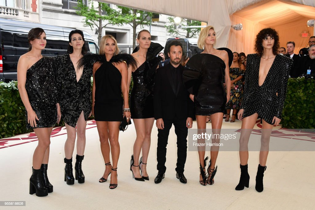 Charlotte Casiraghi, Charlotte Gainsbourg, Kate Moss, Amber Valletta, Anthony Vaccarello, Mica Arganaraz and Anja Rubik attend the Heavenly Bodies: Fashion & The Catholic Imagination Costume Institute Gala at The Metropolitan Museum of Art on May 7, 2018 in New York City.