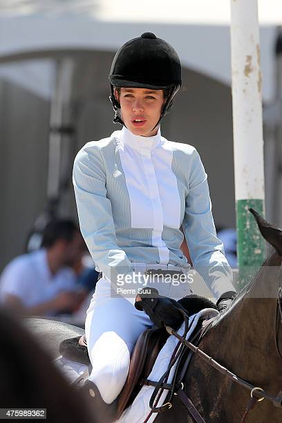Charlotte Casiraghi competes at the Longines Athina Onassis horse Show on June 5 2015 in SaintTropez France
