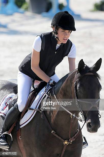 Charlotte Casiraghi competes at the Longines Athina Onassis Horse Show on June 6 2015 in SaintTropez France