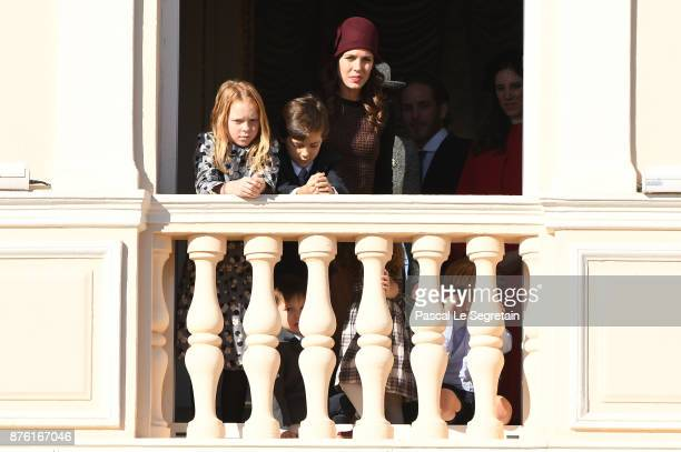 Charlotte Casiraghi greets the crowd from the palace's balcony during the Monaco National Day Celebrations on November 19 2017 in Monaco Monaco