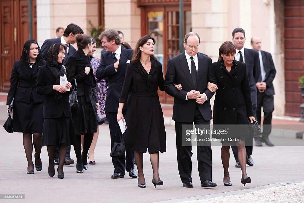 Charlotte Casiraghi, HRH Ernst August of Hanover,HRH Caroline of Hanover, HSH Prince Albert of Monaco and HSH Princess Stephanie of Monaco at the mass marking the first anniversary of Prince Rainier III's death.