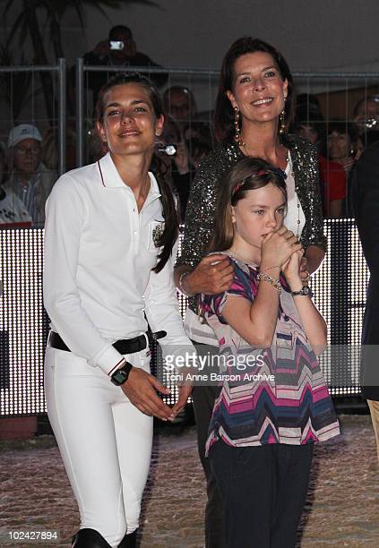 Charlotte Casiraghi HSH Princess Caroline of Hanover and Princess Alexandra of Hanover attends the 15th Monte Carlo International Jumping on June 25...