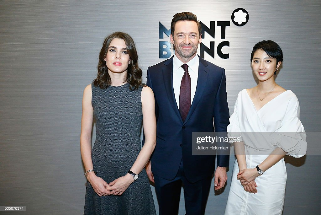 Charlotte Casiraghi, Hugh Jackman and Gwei Lun Mei attend the Montblanc Brand Ambassadors 110 Years Press Conference on January 18, 2016 in Geneva, Switzerland.