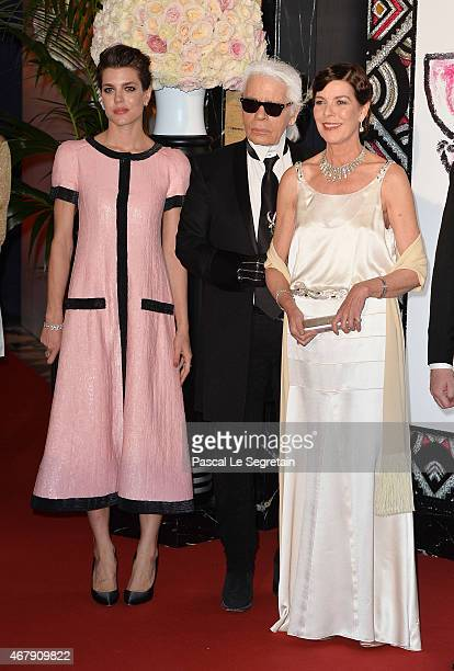 Charlotte Casiraghi, Karl Lagerfeld and Princess Caroline of Hanover attend the Rose Ball 2015 in aid of the Princess Grace Foundation at Sporting...