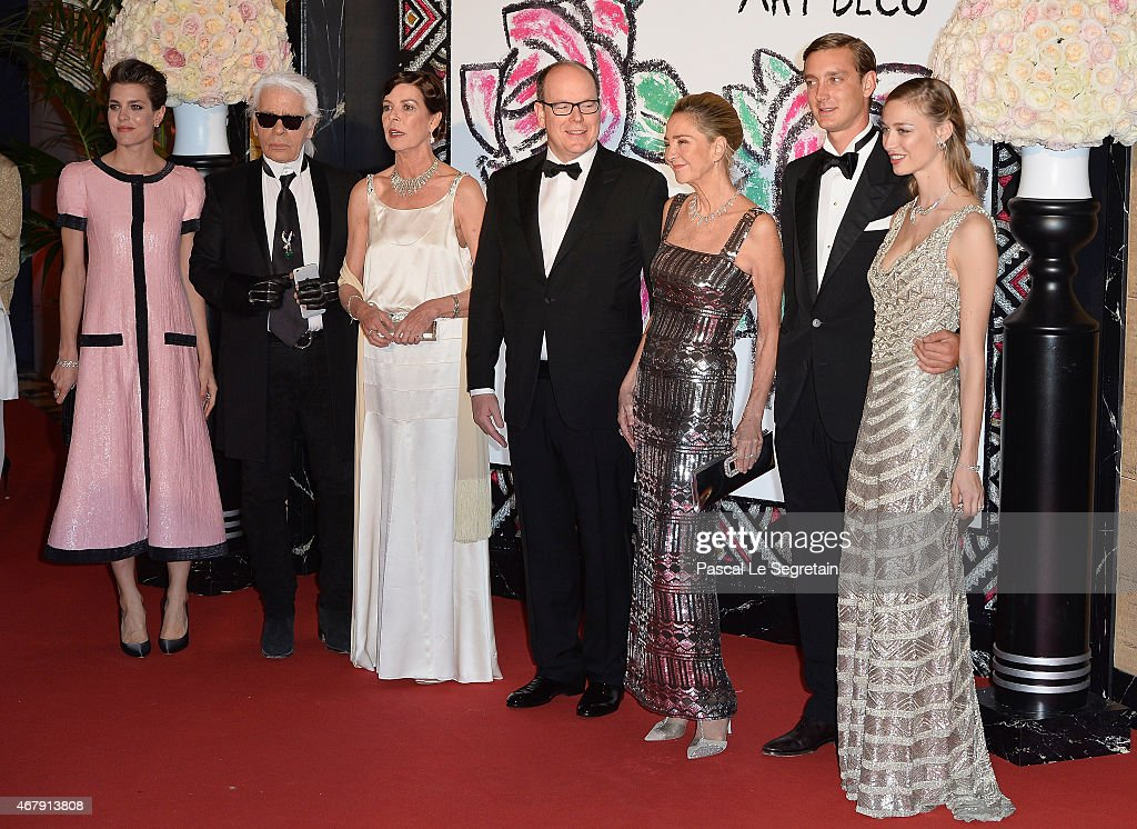 Charlotte Casiraghi, Karl Lagerfeld, Princess Caroline of Hanover, Prince Albert II of Monaco, Paola Marzotto, Pierre Casiraghi and Beatrice Borromeo attend the Rose Ball 2015 in aid of the Princess Grace Foundation at Sporting Monte-Carlo on March 28, 2015 in Monte-Carlo, Monaco.