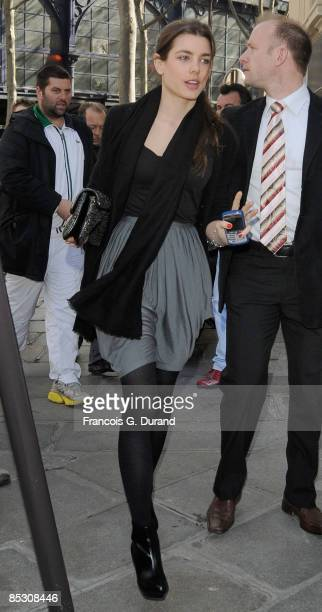 Charlotte Casiraghi leaves the 'Carreau du Temple' after the Stella McCartney ReadytoWear A/W 2009 fashion show during Paris Fashion Week at Carreau...