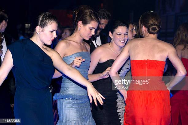 Charlotte Casiraghi MelanieAntoinette de Massy and guests dance during the 'Swinging London' Monaco Rose Ball 2012 at Sporting MonteCarlo on March 24...
