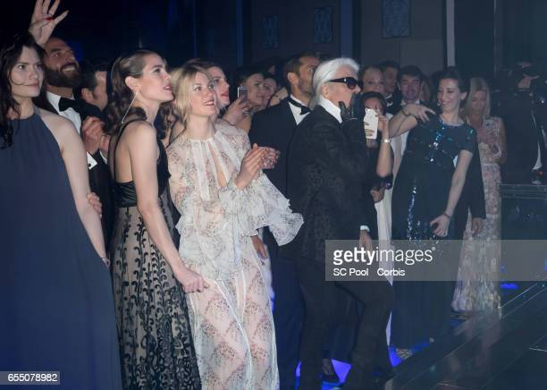 Charlotte Casiraghi Mona Walravens and Karl Lagerfeld during the Rose Ball 2017 To Benefit The Princess Grace Foundation at Sporting MonteCarlo on...