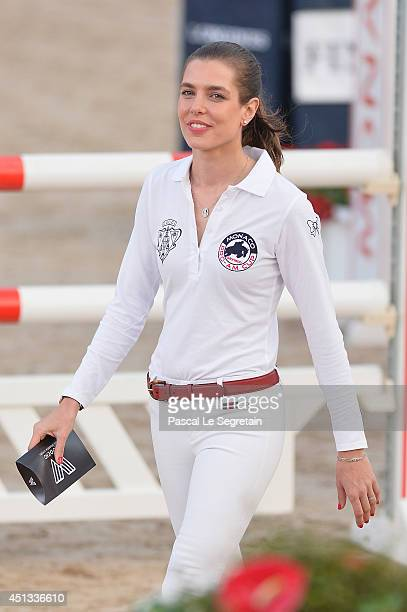 Charlotte Casiraghi of Gucci team attends the Longines ProAm Cup Monaco 2014 during the International MonteCarlo Jumping at Port Hercule on June 27...