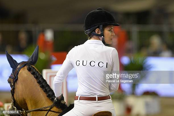 Charlotte Casiraghi of the Gucci team rides Madison d'Olgy as she attends the Longines ProAm Cup Monaco 2014 during the International MonteCarlo...