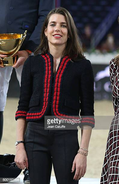 Charlotte Casiraghi poses during the trophy presentation of the 'Style and Competition' show jumping charity event benefitting 'AMADE' on day three...