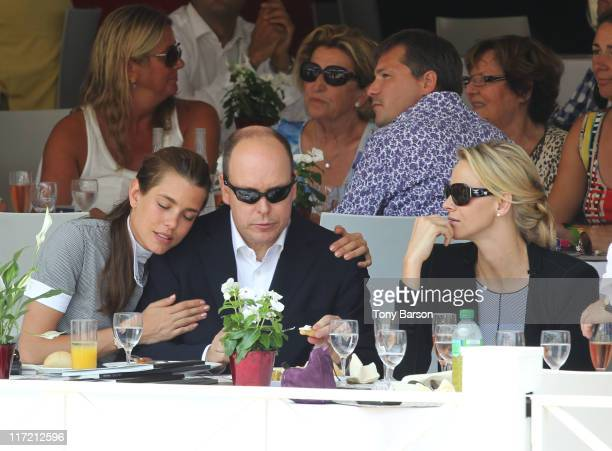 Charlotte Casiraghi Prince Albert II of Monaco Charlene Wittstock attend the Global Champion Tour 2011 on June 24 2011 in Monte Carlo Monaco