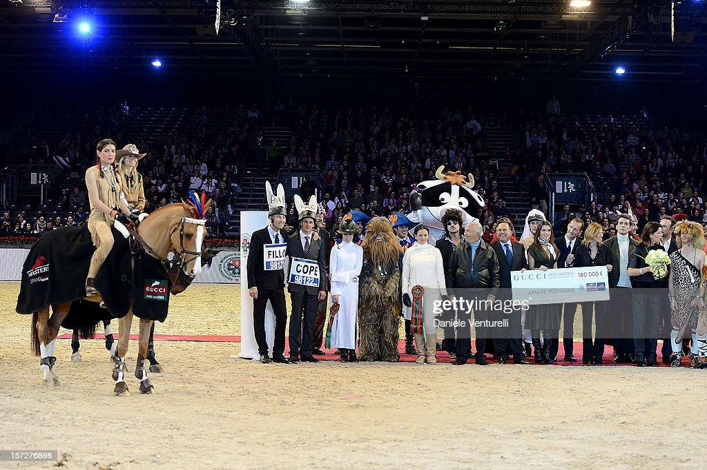 Charlotte Casiraghi, Princess Caroline of Hanover, Fernanda Ameeuw, Nelson Pessoa and Robert Triefus attend the Gucci Paris Masters 2012 at Paris Nord Villepinte on December 1, 2012 in Paris, France.