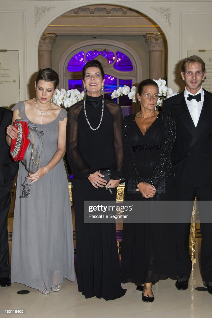 Charlotte Casiraghi, Princess Caroline of Hanover, Princess Stephanie of Monaco and Andrea Casiraghi pose as they arrive to attend the AMADE MONDIALE association Gala Dinner at Hotel Hermitage on October 4, 2013 in Monaco, Monaco. AMADE MONDIALE celebrates its 50th anniversary on Friday.