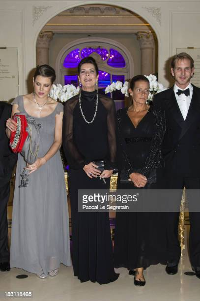 Charlotte Casiraghi Princess Caroline of Hanover Princess Stephanie of Monaco and Andrea Casiraghi pose as they arrive to attend the AMADE MONDIALE...