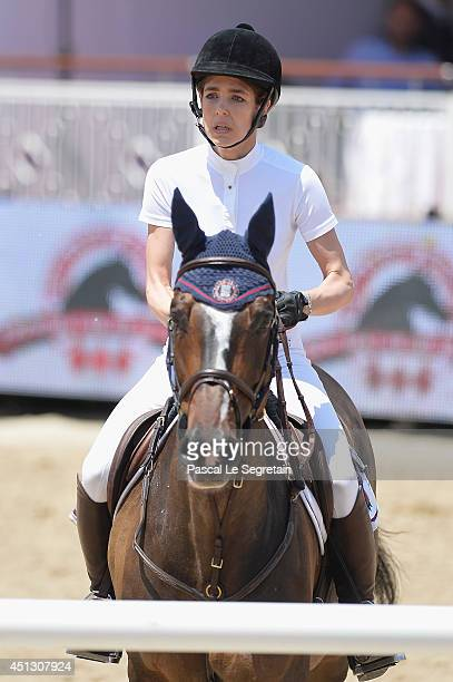 Charlotte Casiraghi rides Costa Virgio as she attends the Special Invitational race during the International MonteCarlo Jumping at Port Hercule on...