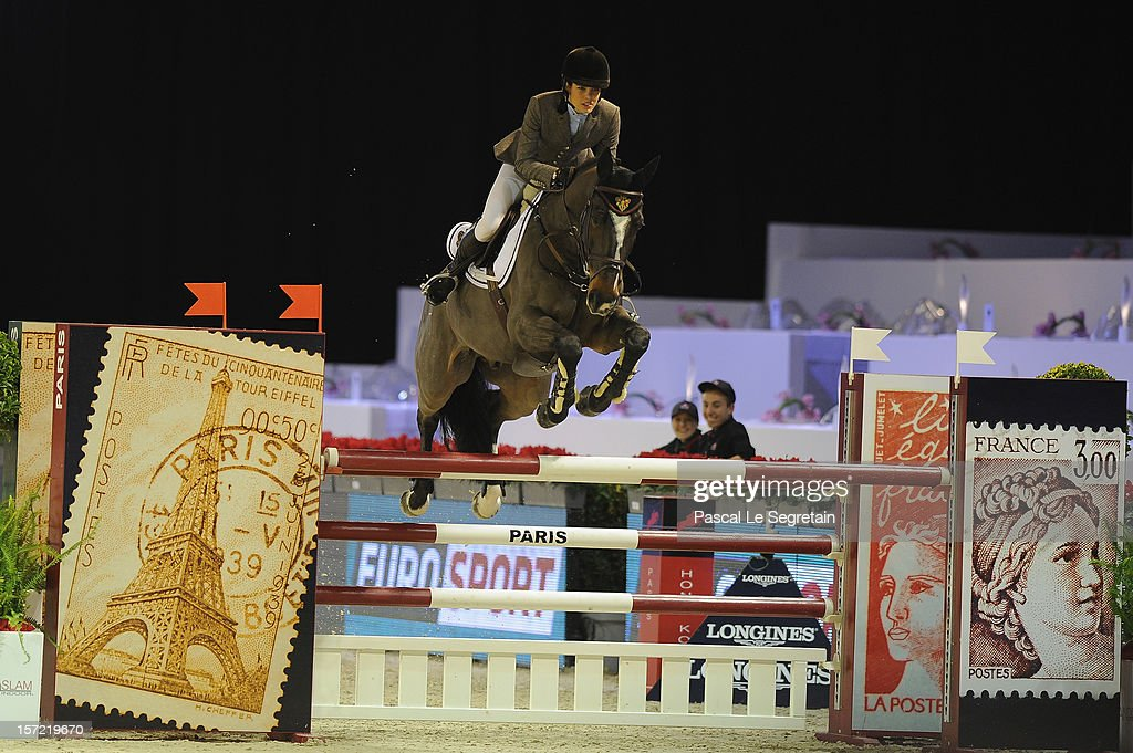 Charlotte Casiraghi rides Costa Virgio during the Masters Grand Slam competition at the Gucci Paris Masters 2012 at Paris Nord Villepinte on November 30, 2012 in Paris, France.