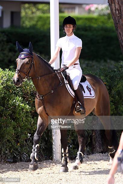Charlotte Casiraghi rides during the '30th International Cannes Jumping' Global Champion Tour 2011 on June 10 2011 in Cannes France