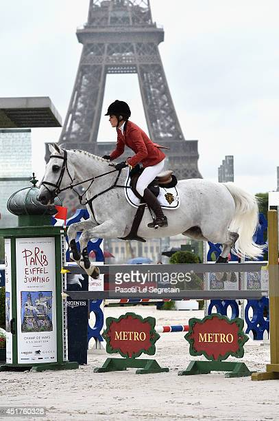 Charlotte Casiraghi rides Tintero during the 'Prize Evian Table A against the clock with jumpoff' during the Paris Eiffel Jumping presented by Gucci...