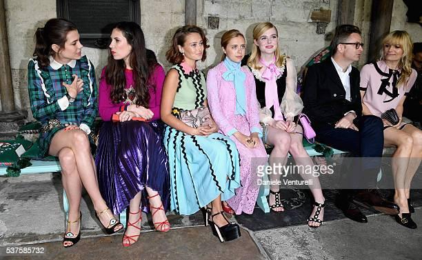 Charlotte Casiraghi Tatiana Casiraghi Ella Purnell Bel Powley Elle Fanning Nicolas Winding Refn and Liv Corfixen attend the Gucci Cruise 2017 fashion...