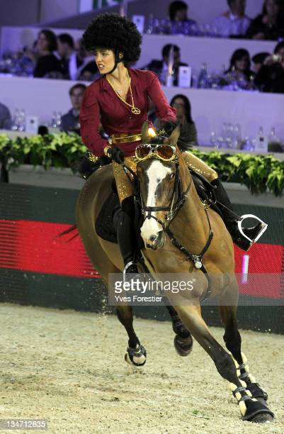 Charlotte Casiraghi with fancy dress rides during the International Gucci Masters competition on December 3 2011 in Villepinte France