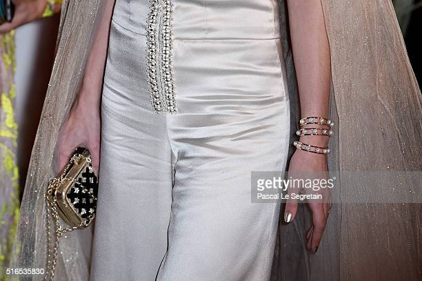 Charlotte Casiraghidetail attends The 62nd Rose Ball To Benefit The Princess Grace Foundation at Sporting MonteCarlo on March 19 2016 in MonteCarlo...
