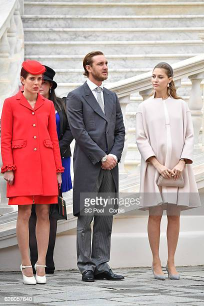 Charlotte Casiraghi,Pierre Casiraghi and Beatrice Borromeo attend the Monaco National Day Celebrations in the Monaco Palace Courtyard on November 19,...