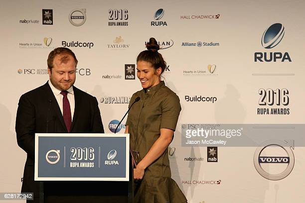 Charlotte Caslick accepts the Women's Sevens Player of the Year Award during the 2016 Rugby Union Players Association Awards Lunch at The Ivy on...