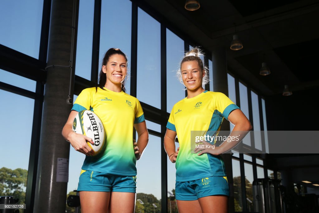 Charlotte Caslick (L) and Emma Tonegato (R) of the Australian Women's Sevens team pose during the Australian Rugby Sevens Commonwealth Games Teams Announcement at the Rugby Australia building on March 15, 2018 in Sydney, Australia.