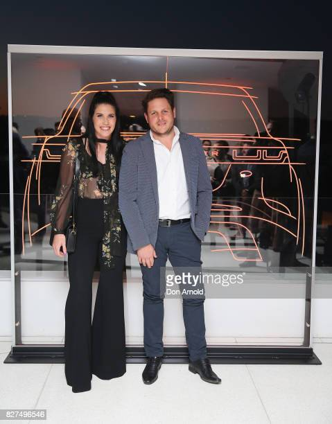 Charlotte Caslick and James Viles arrive ahead of the Range Rover Velar Launch on August 8 2017 in Sydney Australia