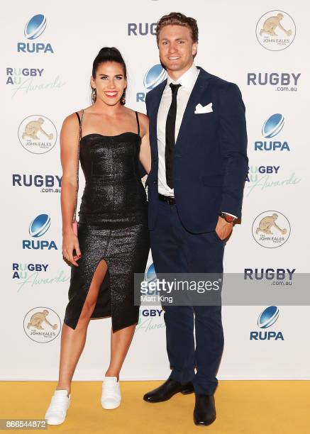 Charlotte Caslick and Lewis Holland arrive ahead of the 2017 Rugby Australia Awards at Royal Randwick Racecourse on October 26 2017 in Sydney...