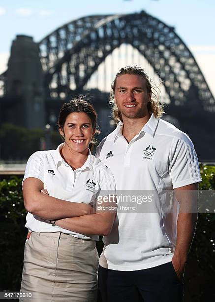 Charlotte Caslick and Lewis Holland of the Australian Women's and Men's Sevens Rugby Teams pose during the Australian Olympic Games rugby sevens team...