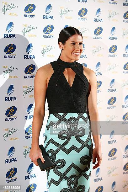 Charlotte Caslick arrives at the John Eales Medal at Royal Randwick Racecourse on August 27 2015 in Sydney Australia