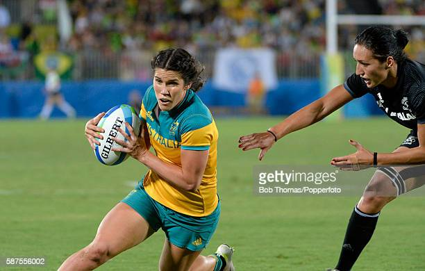 Charlotte Caslick in action for Australia during the Women's Gold Medal Rugby Sevens match between Australia and New Zealand on Day 3 of the Rio 2016...