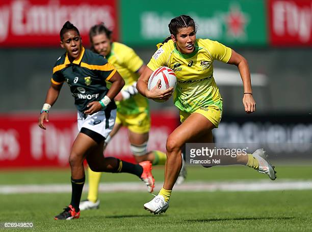 Charlotte Caslick of Australia in action during day one of the Emirates Dubai Rugby Sevens HSBC World Rugby Women's Sevens Series on December 1 2016...