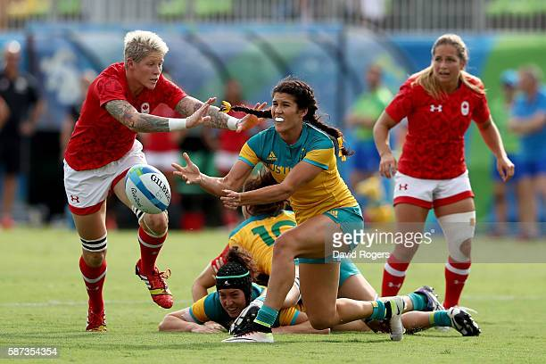 Charlotte Caslick of Australia passes the ball during the Women's Semi Final 1 Rugby Sevens match between Australia and Canada on Day 3 of the Rio...