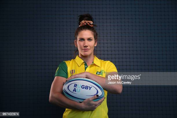 Charlotte Caslick of Australia poses during the Farewell for Australian Rugby World Cup Sevens squads at Rugby Australia HQ on July 13 2018 in Sydney...
