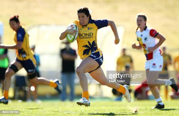 Charlotte Caslick of Bond Uni in action during the match between Bond University and Macquarie University and at the Womens Sevens University...