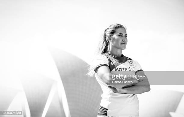 Charlotte Caslick poses during the Australian Olympic Team Tokyo 2020 uniform unveiling at the Overseas Passenger Terminal on March 31, 2021 in...