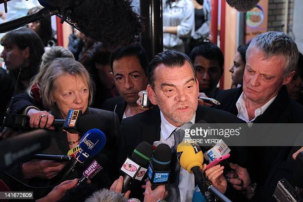 Charlotte Cassez the mother of Florence Cassez who is sentenced in Mexico to 60 years listens to her lawyer Frank Berton talking to journalists after...