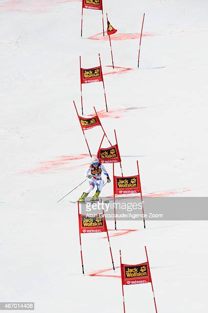 Charlotte Chable of Switzerland competes during the Audi FIS Alpine Ski World Cup Finals Nations Team Event on March 20 2015 in Meribel France