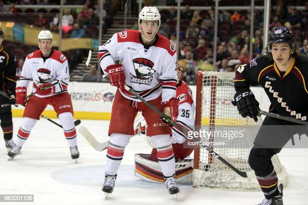 Charlotte Checkers D Haydn Fleury during the second period of the AHL hockey game between the Charlotte Checkers and Cleveland Monsters on March 30...