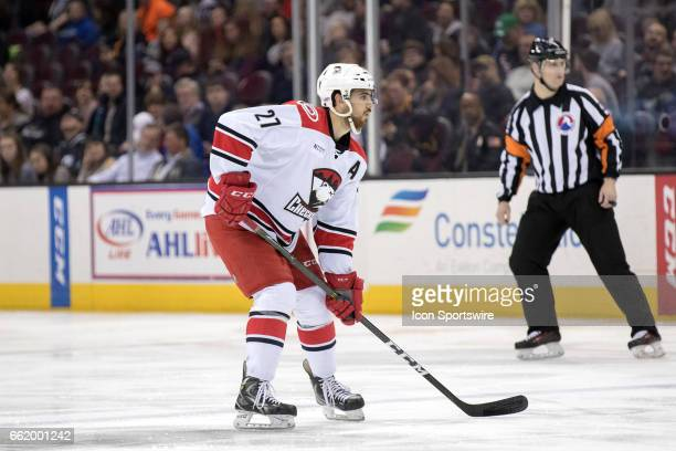 Charlotte Checkers D Jake Chelios during the first period of the AHL hockey game between the Charlotte Checkers and Cleveland Monsters on March 30 at...